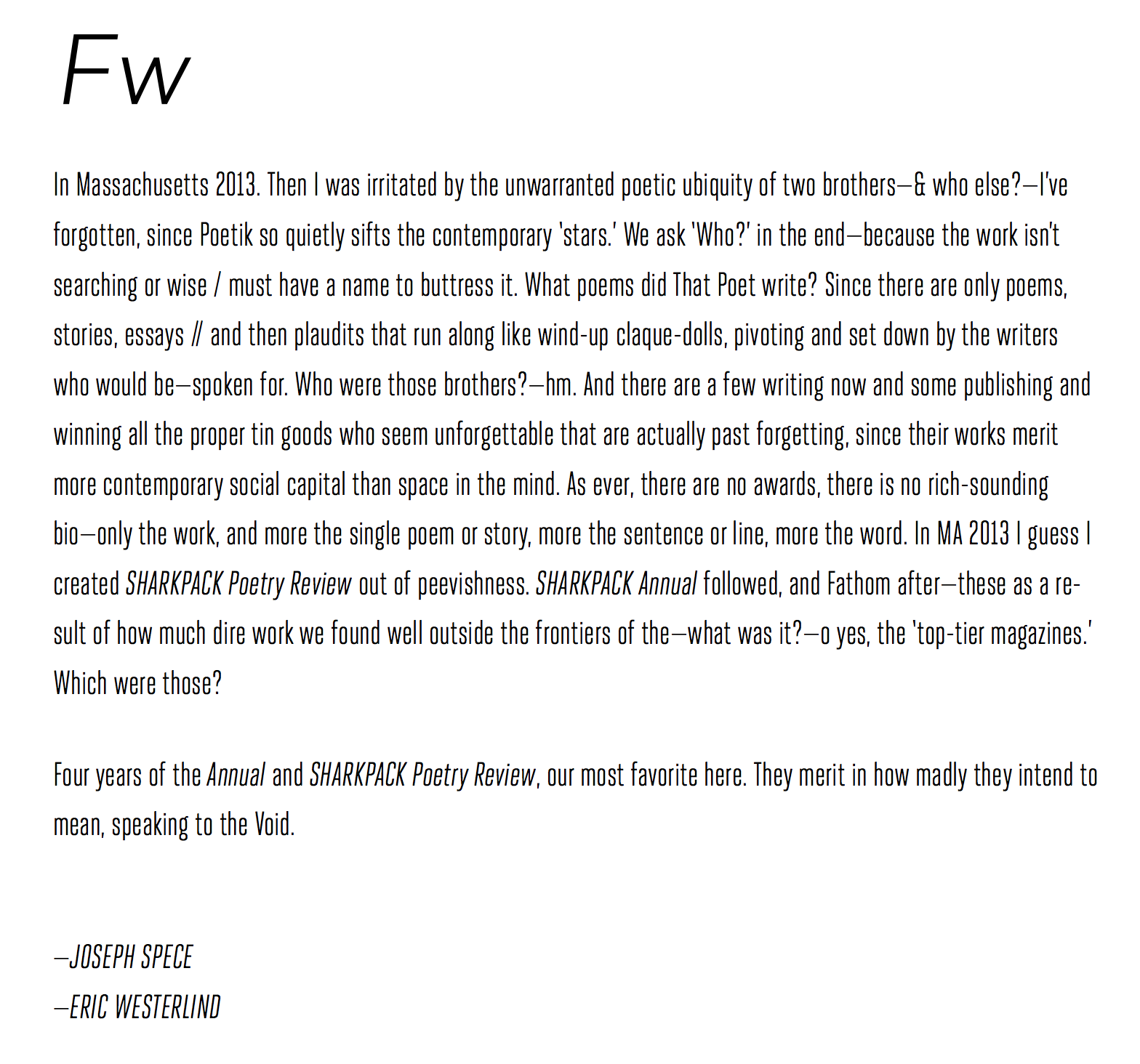 Foreword to Fathom&#8217;s forthcoming <i>SELECTS2014-17</i>